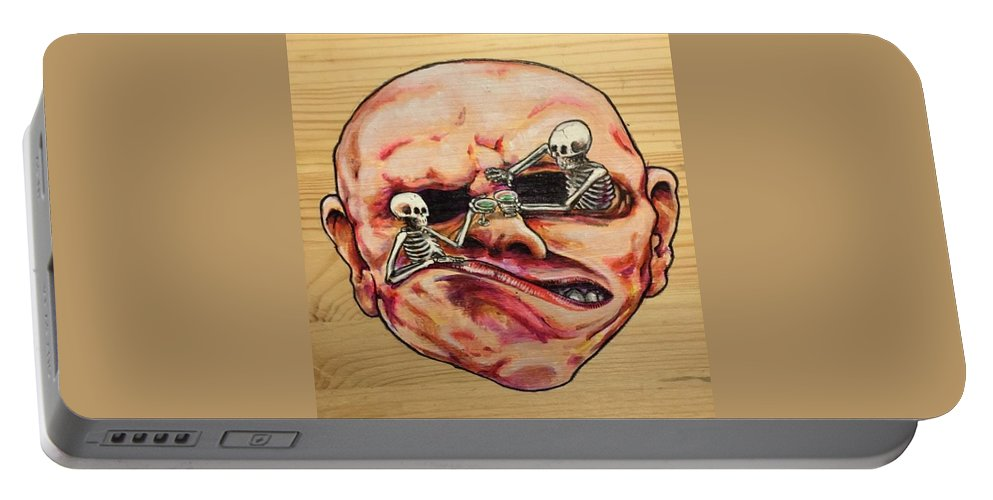Skeleton Portable Battery Charger featuring the painting Martini Hour by Jon Strode