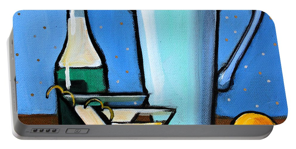 Martini Portable Battery Charger featuring the painting Martini Night by Toni Grote