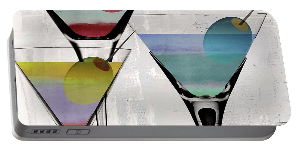 Martini Portable Battery Charger featuring the painting Martini Prism by Mindy Sommers