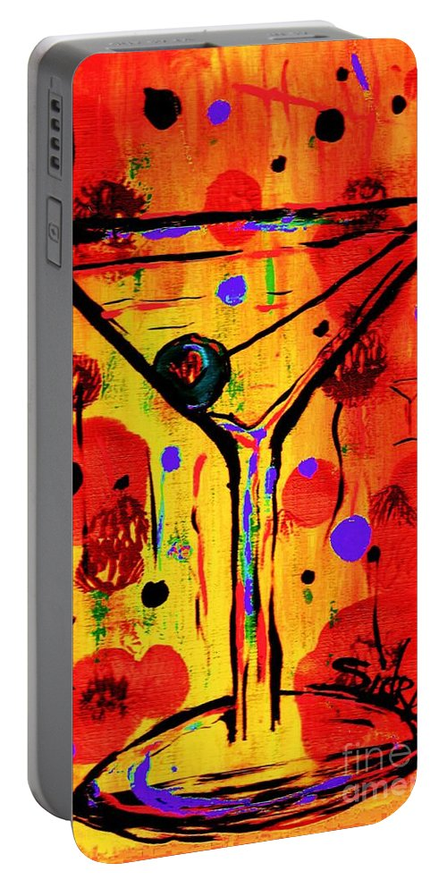 Martini Portable Battery Charger featuring the painting Martini Twentyfive Of Sidzart Pop Art Collection by Sidra Myers