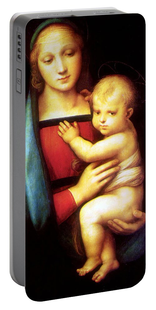 Mary Portable Battery Charger featuring the photograph Mary And Baby Jesus by Munir Alawi