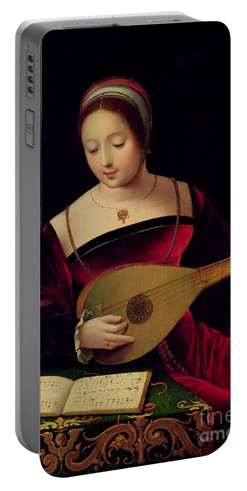 Mary Portable Battery Charger featuring the painting Mary Magdalene Playing The Lute by Master of the Female Half Lengths