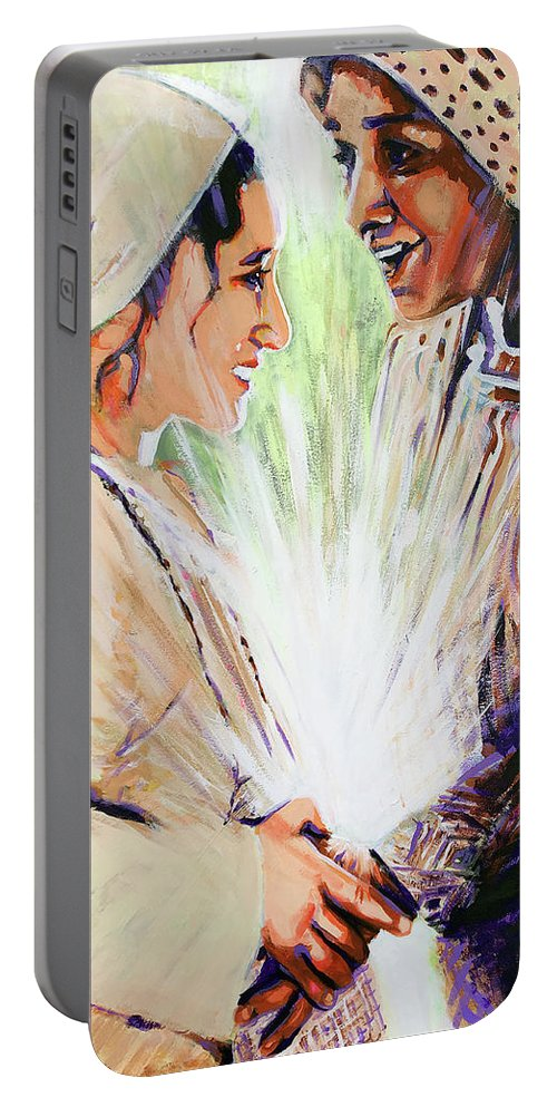 The Visitation Portable Battery Charger featuring the painting Mary Visits Elizabeth by Steve Gamba