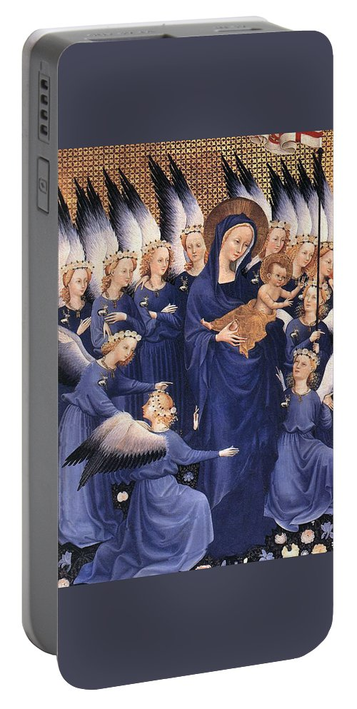 Paintings Portable Battery Charger featuring the painting Mary With Baby Jesus by Munir Alawi