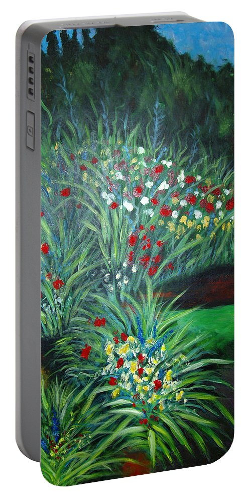 Landscape Portable Battery Charger featuring the painting Maryann's Garden 3 by Nancy Mueller