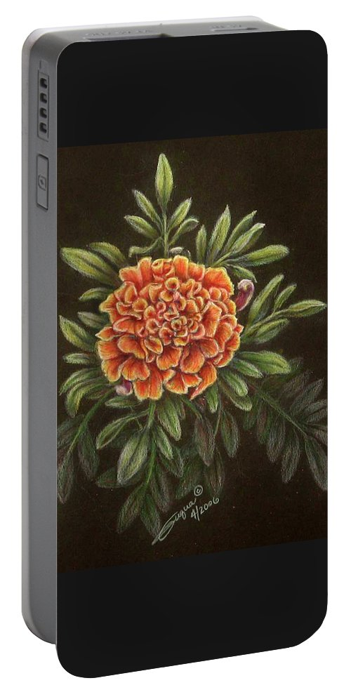 Fuqua - Artwork Portable Battery Charger featuring the drawing Marys Gold by Beverly Fuqua