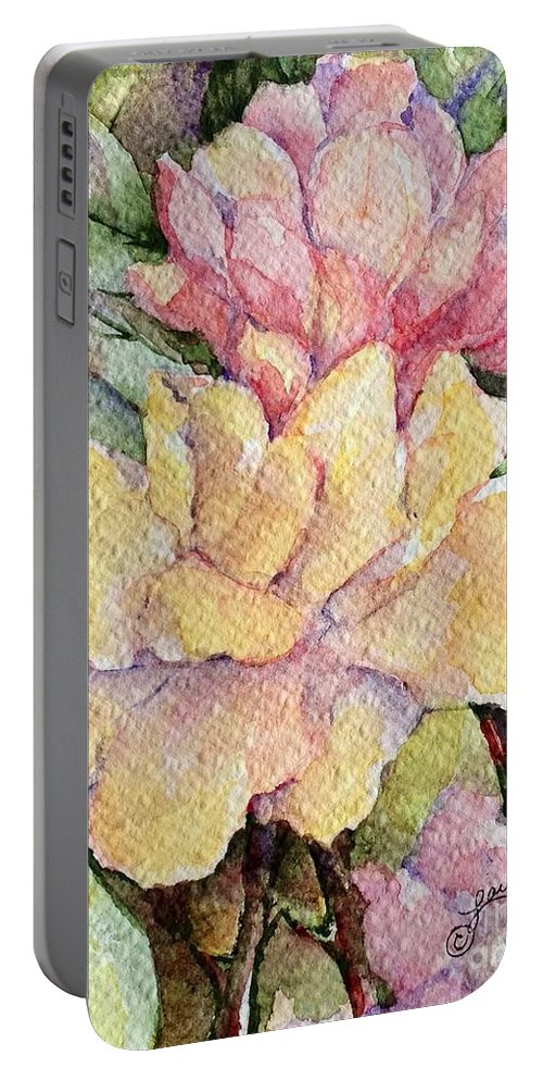 Florals Portable Battery Charger featuring the painting Ma's Roses 1 by Laurel Adams