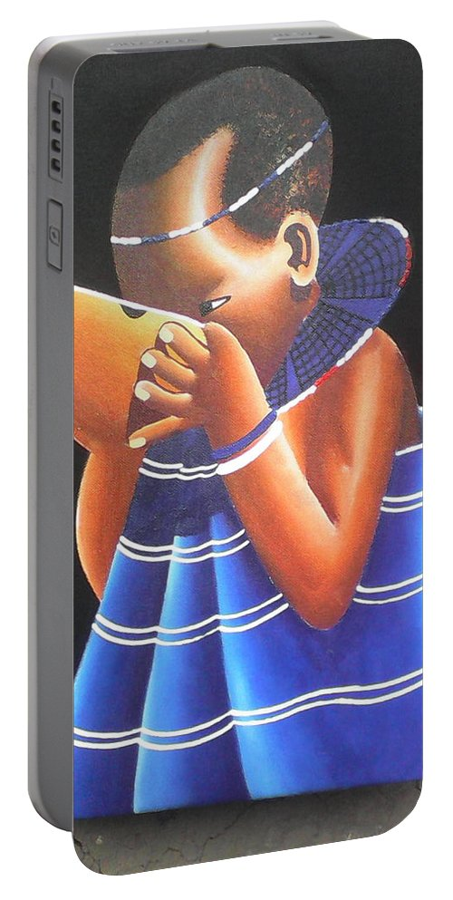 Portable Battery Charger featuring the drawing Masaai Kid by Amos Murigi