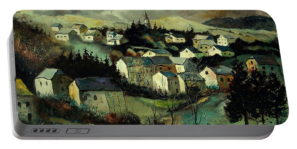 Winter Portable Battery Charger featuring the painting Masbourg by Pol Ledent