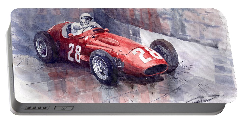 Watercolour Portable Battery Charger featuring the painting Maserati 250 F Gp Monaco 1956 Stirling Moss by Yuriy Shevchuk