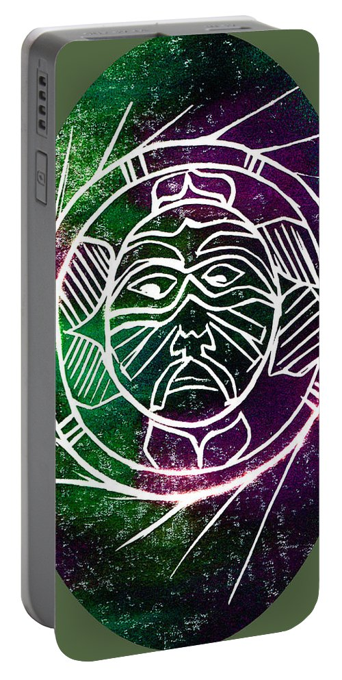 Mask Portable Battery Charger featuring the painting Mask by Brenda Owen