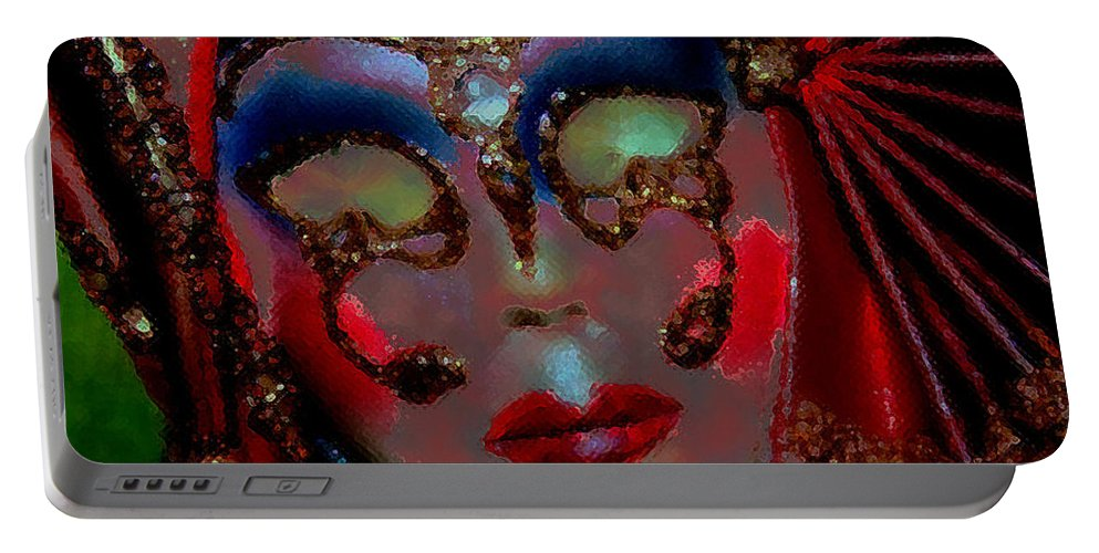 Mask Portable Battery Charger featuring the photograph Mask by Linda Sannuti