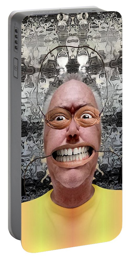 Collage Portable Battery Charger featuring the digital art Mask by Ron Bissett