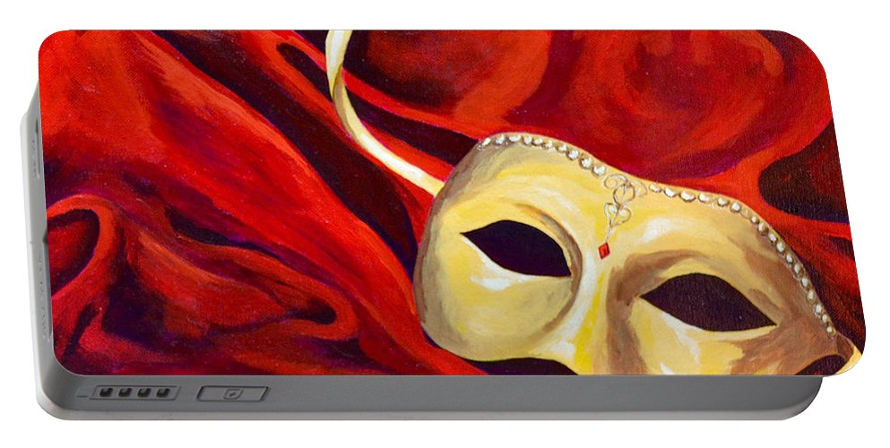 Masquerade Red Mask Warm Colors Portable Battery Charger featuring the painting Masquerade 2 by Herschel Fall