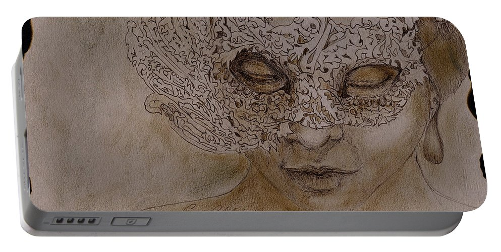 Mask Portable Battery Charger featuring the drawing Masquerade by Portraits By NC