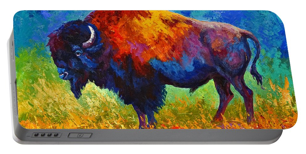 Wildlife Portable Battery Charger featuring the painting Master Of His Herd by Marion Rose