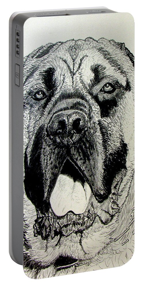 Mastiff Portable Battery Charger featuring the drawing Mastiff by Stan Hamilton