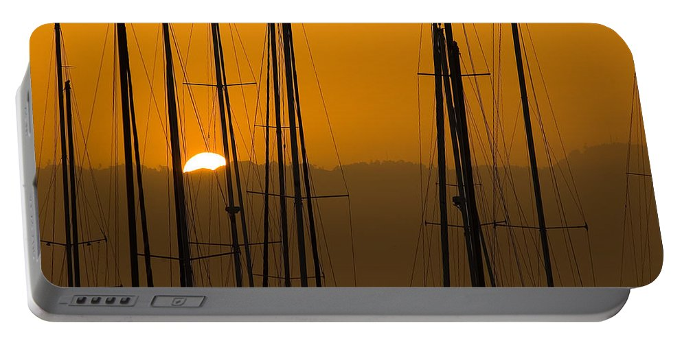 Masts Portable Battery Charger featuring the photograph Masts At Dawn by Mick Burkey