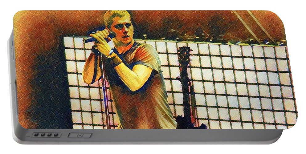 Matchbox Portable Battery Charger featuring the digital art Matchbox Twenty Rob Thomas by Lynn Z Brown