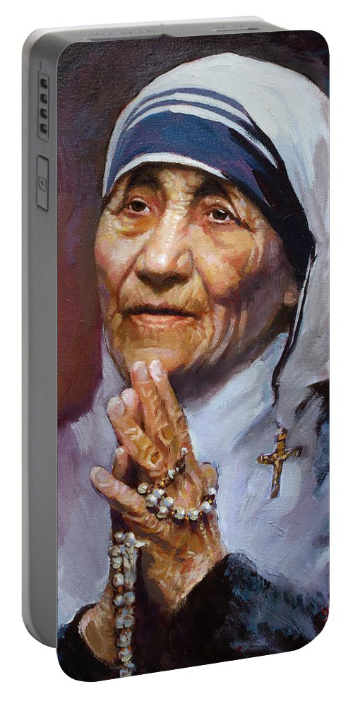 Mother Teresa Artwork Portable Battery Charger featuring the painting Mother Teresa by Ylli Haruni