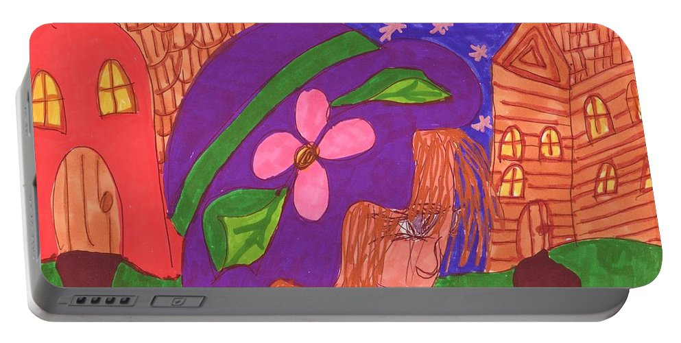 Matilda In A Purple Hat Portable Battery Charger featuring the mixed media Matildas World by Elinor Helen Rakowski