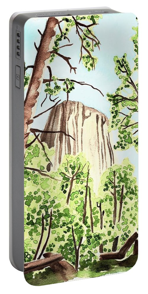 Devils Tower Portable Battery Charger featuring the painting Mato Tipila by Anastasia Bisel