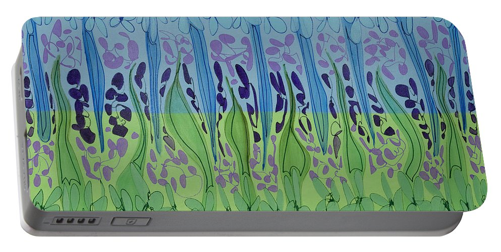 Contemporary Portable Battery Charger featuring the painting Matrix One by Lynne Taetzsch
