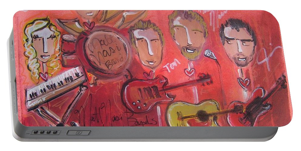 Red Portable Battery Charger featuring the painting Matt Nasi Band by Laurie Maves ART