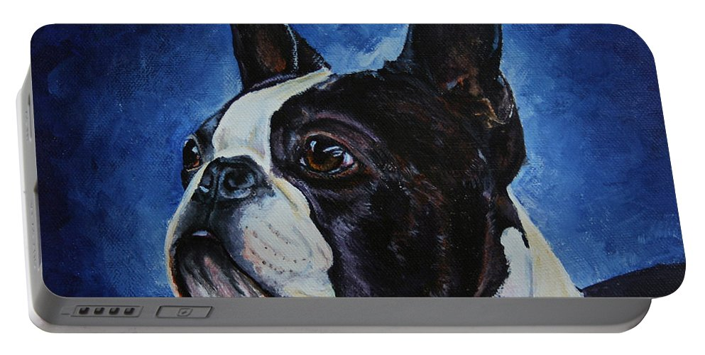 Boston Terrier Portable Battery Charger featuring the painting Matt by Susan Herber