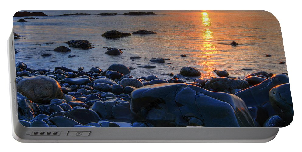 C) Paul Davenport Portable Battery Charger featuring the photograph Maughold Beach by Paul Davenport