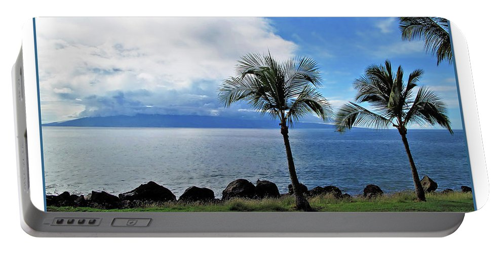 Beach Portable Battery Charger featuring the digital art Maui Clouds by Joan Minchak
