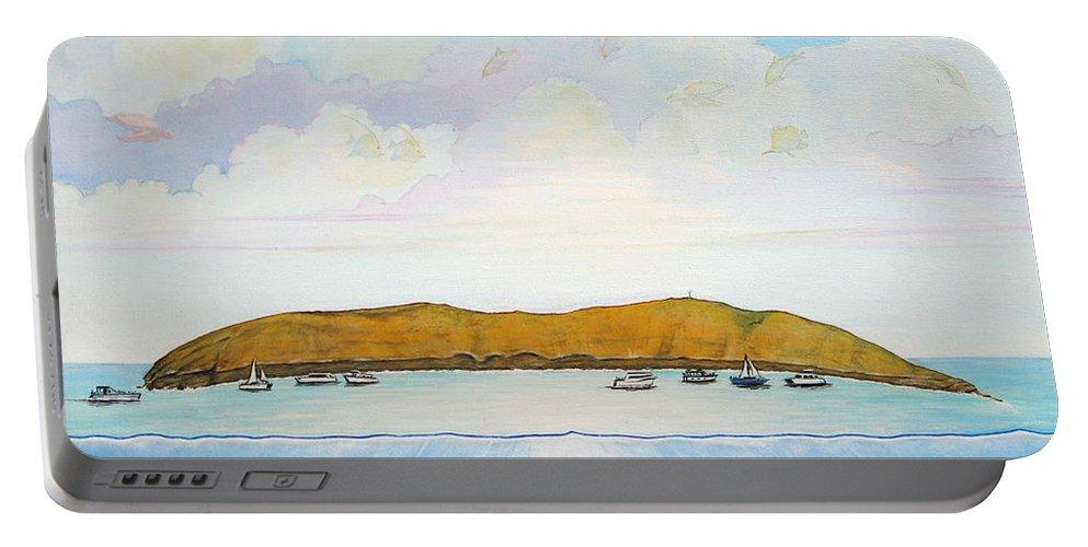 Molokini Portable Battery Charger featuring the painting Maui Molokini Magic by Jerome Stumphauzer
