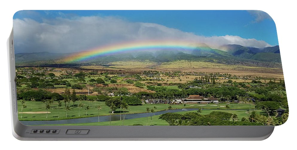 Maui Portable Battery Charger featuring the photograph Maui Rainbow by Frank Testa