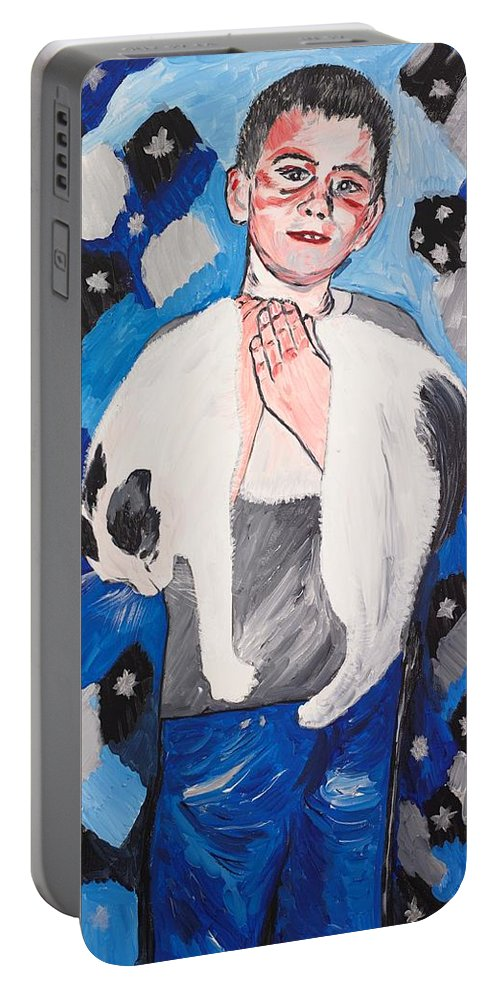 Portrait Portable Battery Charger featuring the painting Max Holding Snowflake by Valerie Ornstein
