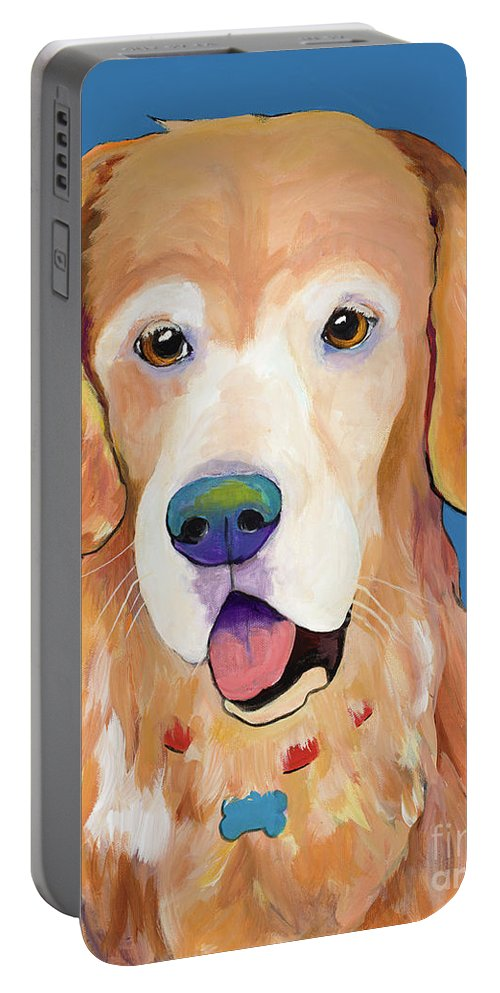 Pat Saunders-white Portable Battery Charger featuring the painting Maxwell by Pat Saunders-White