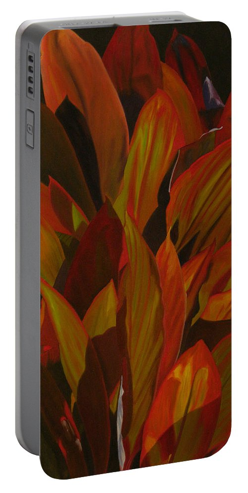 Plant Portable Battery Charger featuring the painting May Festival by Thu Nguyen