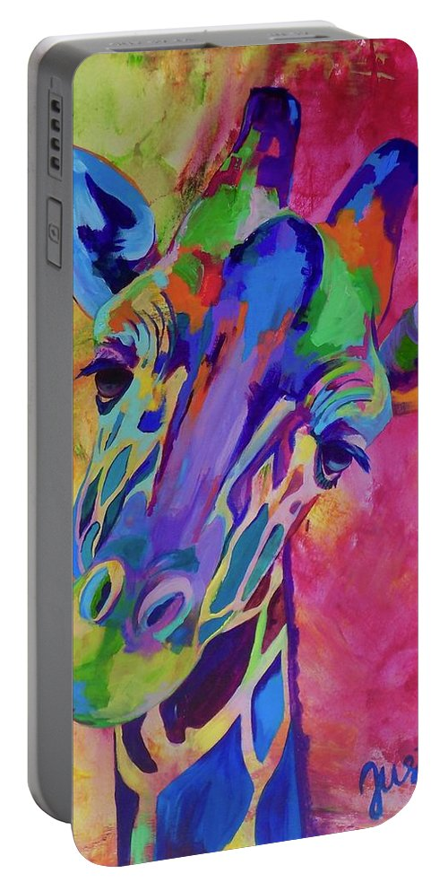 Giraffe Portable Battery Charger featuring the painting May by Janice Westfall