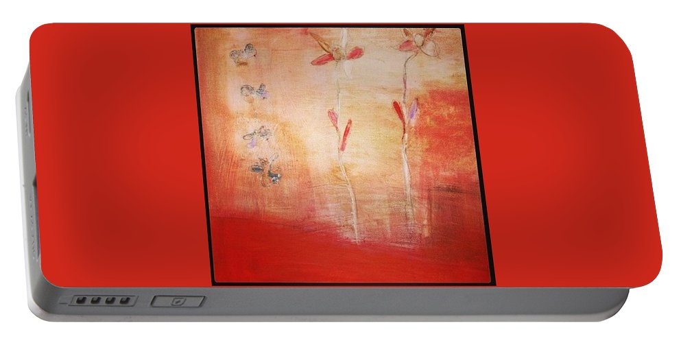 Red Portable Battery Charger featuring the painting May You Soar by Patricia Byron