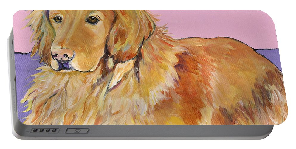 Golden Retriever Portable Battery Charger featuring the painting Maya by Pat Saunders-White