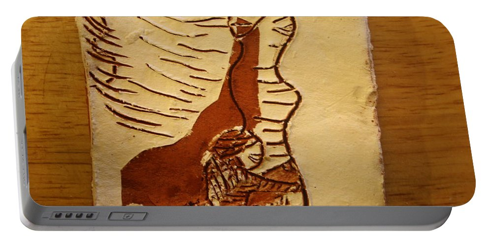 Jesus Portable Battery Charger featuring the ceramic art Maybe Baby Two L - Tile by Gloria Ssali