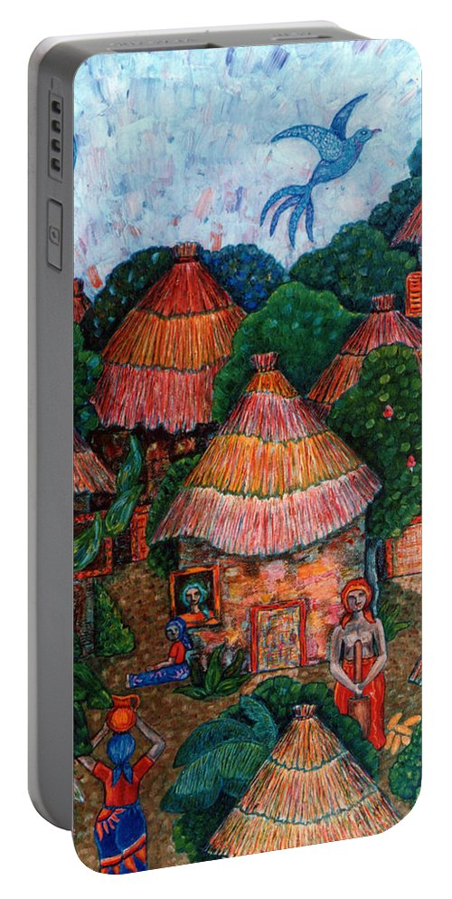 Africa Portable Battery Charger featuring the painting Maybe that was my country by Madalena Lobao-Tello