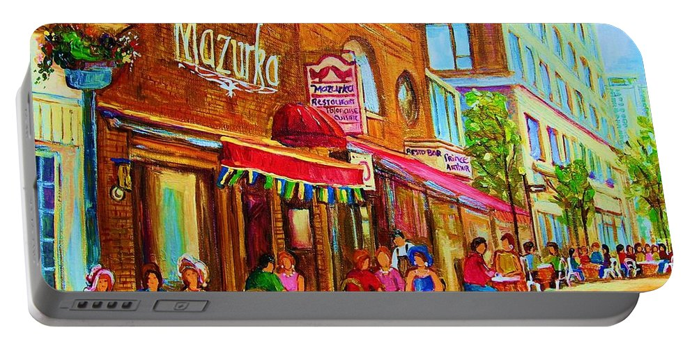 Montreal Streetscene Portable Battery Charger featuring the painting Mazurka Cafe by Carole Spandau