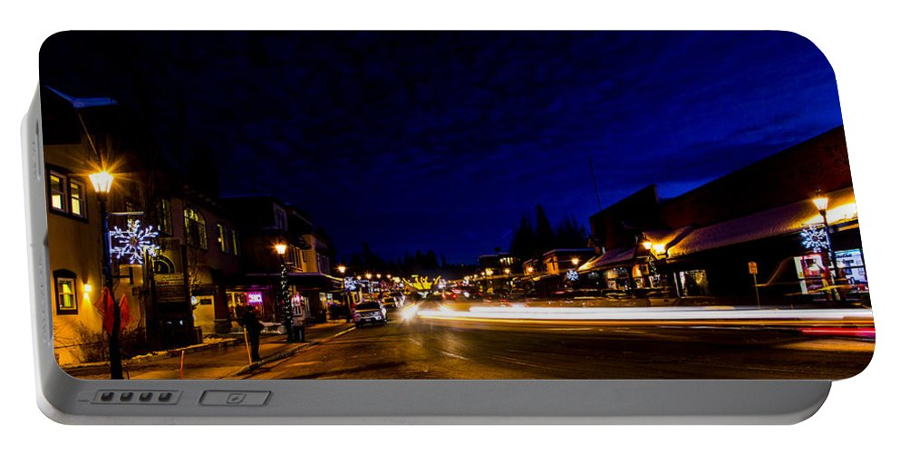 Mccall Portable Battery Charger featuring the photograph Mccall Road Night by Angus Hooper Iii