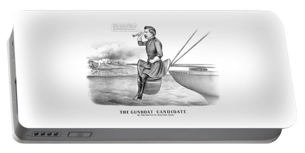 George Mcclellan Portable Battery Charger featuring the drawing Mcclellan The Gunboat Candidate by War Is Hell Store