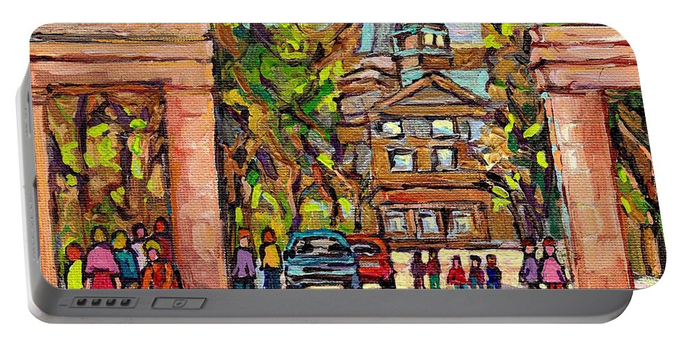 Mcgill University Portable Battery Charger featuring the painting Mcgill Gates Entrance Of Mcgill University Montreal Quebec Original Oil Painting Carole Spandau by Carole Spandau