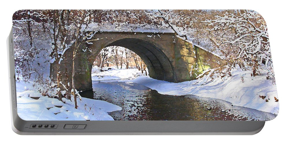 Landscape Portable Battery Charger featuring the digital art Mcgowan Bridge by Steve Karol
