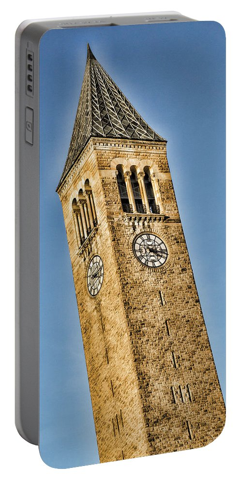 Cornell Portable Battery Charger featuring the photograph Mcgraw Tower by Stephen Stookey