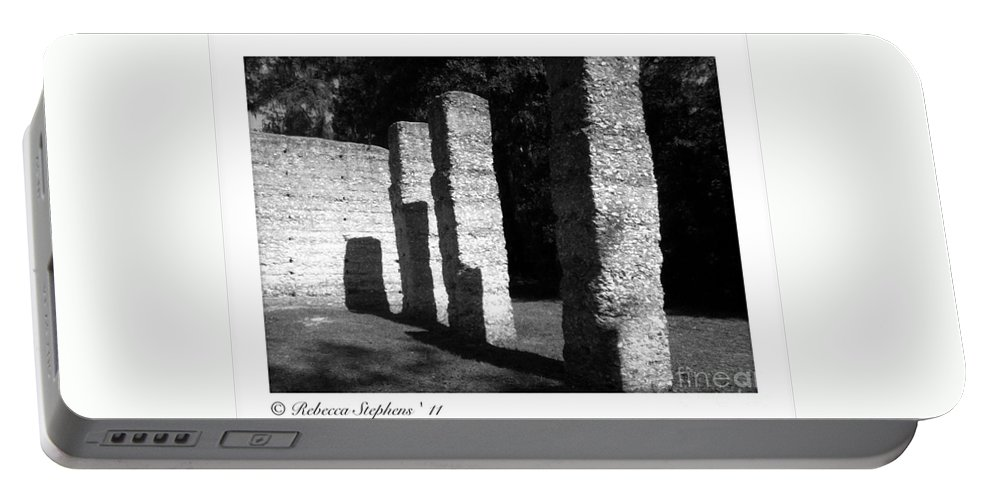 Tabby Portable Battery Charger featuring the photograph Mcintosh Sugar Mill Tabby Ruin Pillars by Rebecca Stephens