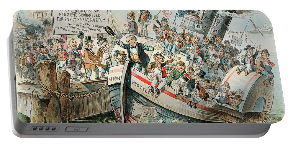 1896 Portable Battery Charger featuring the photograph Mckinley Cartoon, 1896 by Granger