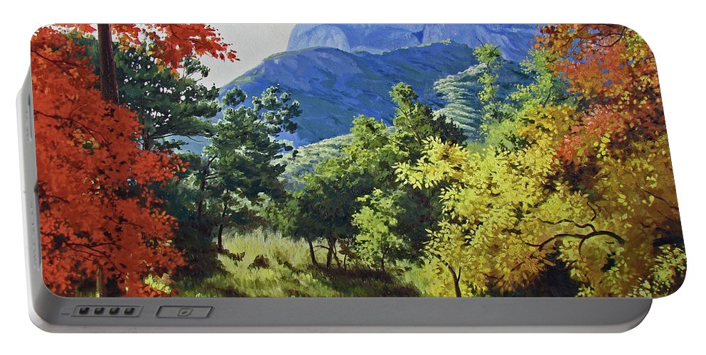 Autumn Portable Battery Charger featuring the painting Mckittrick Canyon Glow by Russell Cushman